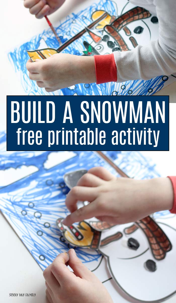 Do you wanna build a snowman? This free printable set has everything you need! Includes 6 printable pages with 30+ accessories to color, cut, and create your own paper snowman scene. A super fun snowman craft for kids that's perfect snow day fun or for a preschool winter theme. #snowmancrafts #winteractivities #kidsactivities #printables