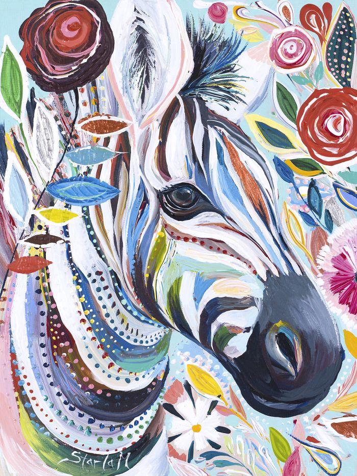 Colorful Zebra Print Nail Art Tutorial: [PAINTING] Colorful Animal Portraits By Starla Halfmann