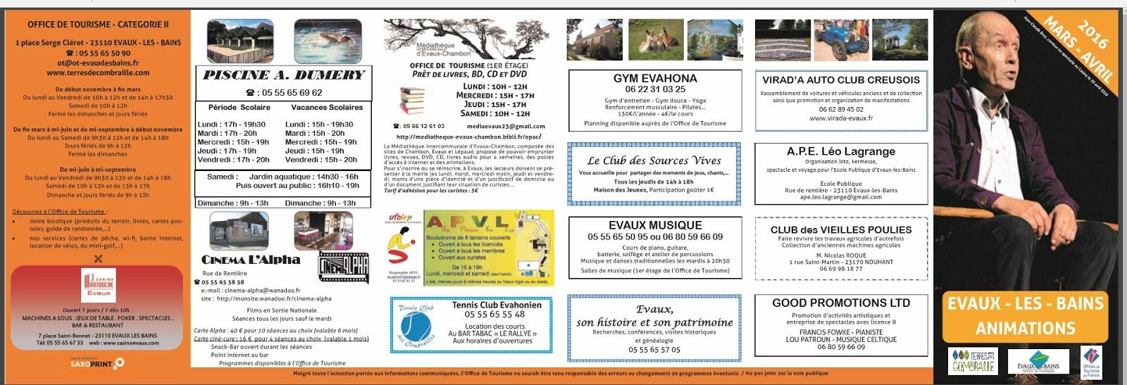 Info creuse allier le programme de l 39 office de tourisme est votre disposition - Office de tourisme de l allier ...
