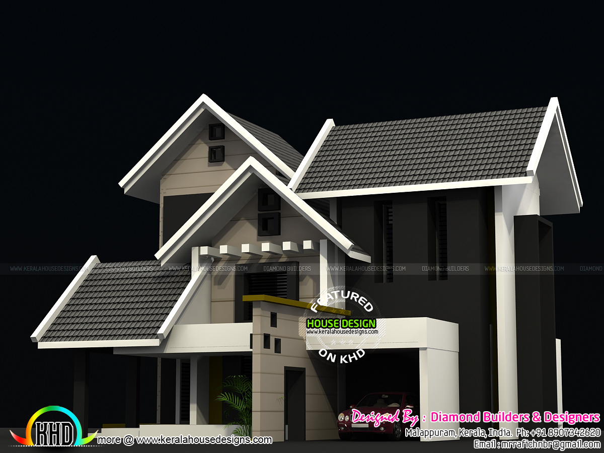 1900 sq ft sloping roof home plan kerala home design and for 1900 sq ft house plans kerala