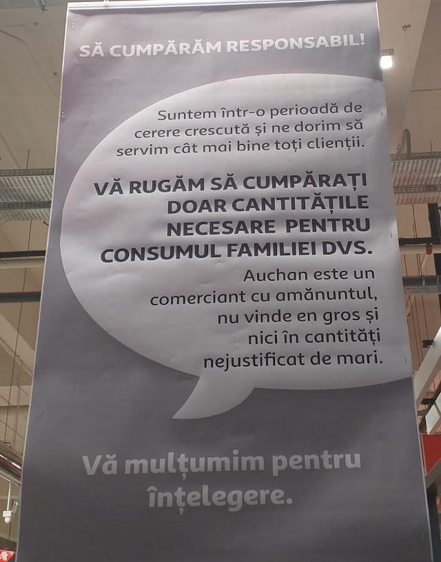 Auchan roagă clienții să nu mai cumpere alimente en gros