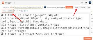 Cara Membuat Tabel Didalam Postingan Mode HTML