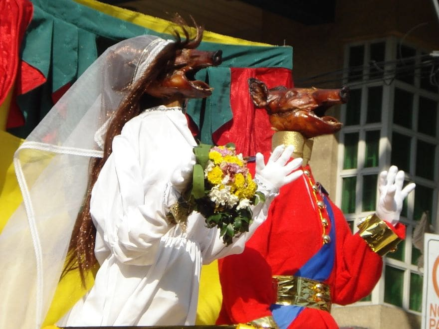 Lechon dressed as a royal couple during the La Loma Lechon Festival