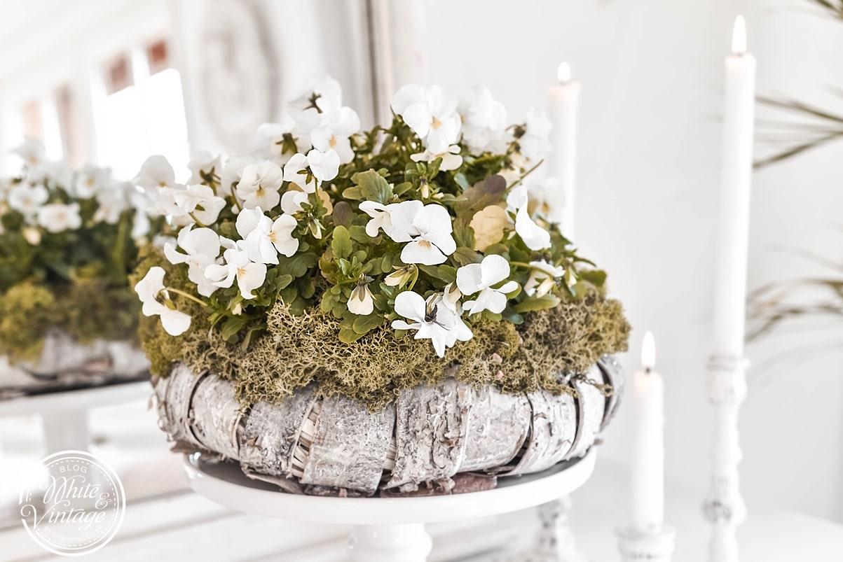 Frühlingskranz aus Blumen und Moos basteln
