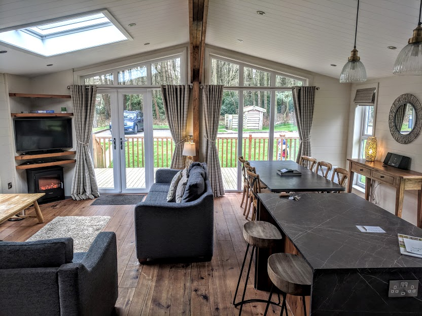 A Review of Darwin Forest & The Peak District with Tweens  - skyline view lodge in the meadows open plan living area