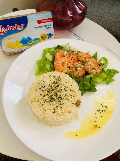 Resepi Nasi Butter Anchor & Garlic Butter Shrimp