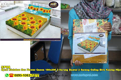 Sprei Kintakun Sun Flower Queen 160×200 2 Sarung Bantal 2 Sarung Guling Biru Kuning Hijau Bunga Dewasa Katun & Polyester