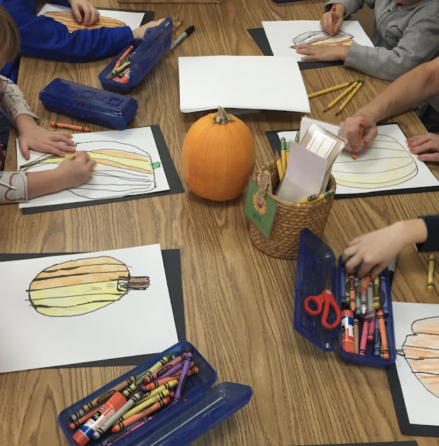 observational drawings of fall pumpkins
