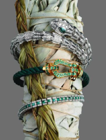 White gold, emerald and diamond Serpenti bangle, Bvlgari. Gold
