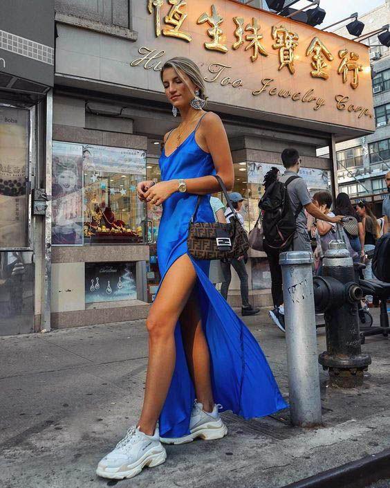 cass dimicco blue satin maxi dress balenciaga sneakers fendi bag