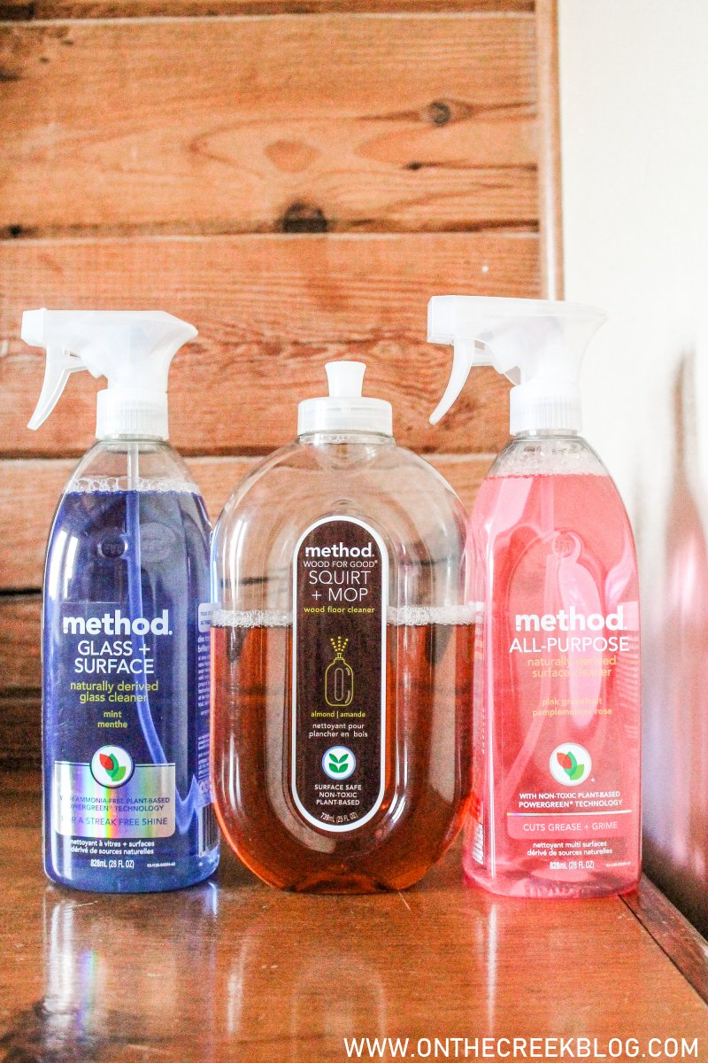 A review of all natural cleaners, plant based cleaning products. Products tested are the Method brand cleaners. | On The Creek Blog