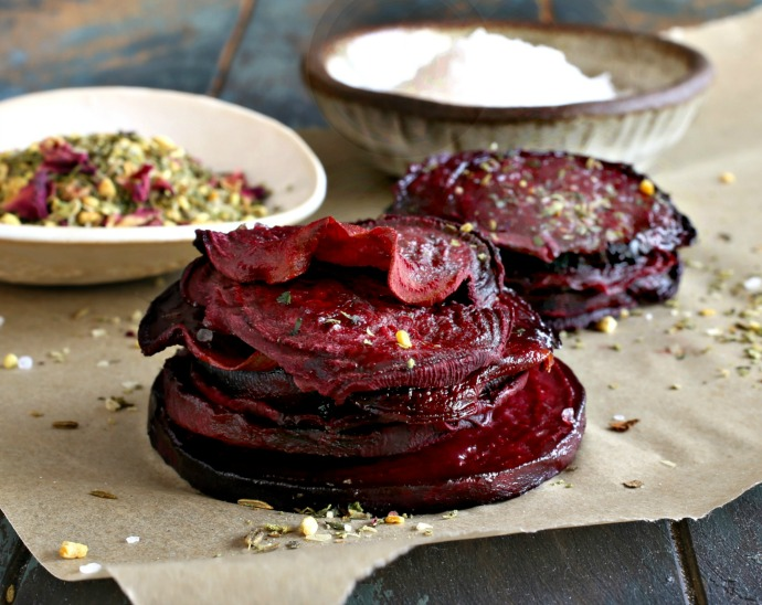 Crispy oven baked beet chips dusted with a mix of toasted pistachio and spices.