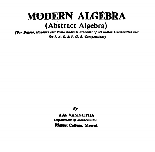 ThreeSixtyHope: Download Modern Algebra by Krishna series Pdf