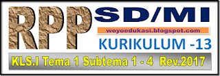 RPP KURIKULUM 13 SD/MI KELAS 1 TEMA 1 SUB TEMA 1-4 PEMBELAJARAN 1-6 - NEW
