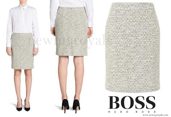 Crown Princess Mary wore HUGO BOSS Bouclé Style Skirt