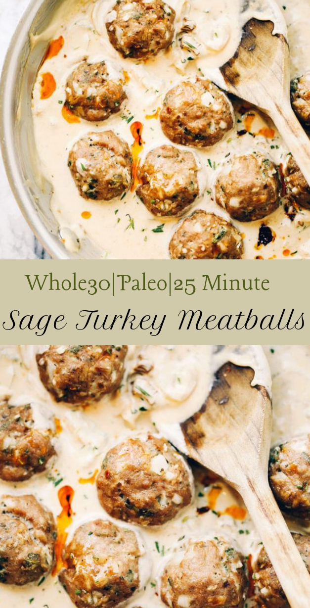 Turkey Sausage Meatballs In Sage Cream Sauce #dinner #healthy