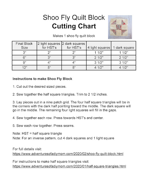 shoo fly cutting chart for multiple sizes