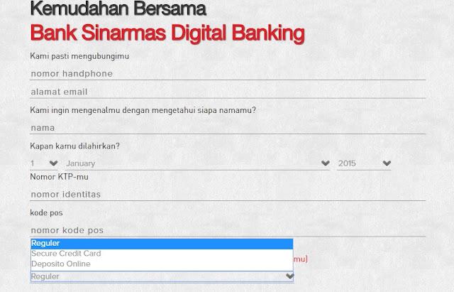 Contoh form applikasi pengajuan kartu kredit tanpa slip gaji di bank sinarmas