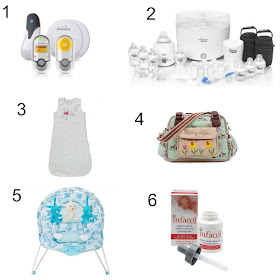 baby monitors, colic drops, baby bottle, baby bouncer and baby sleeping bag