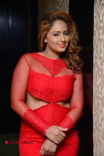 Nikesha Patel Stills in Red Short Dress at Araku Road Lo Movie Interview