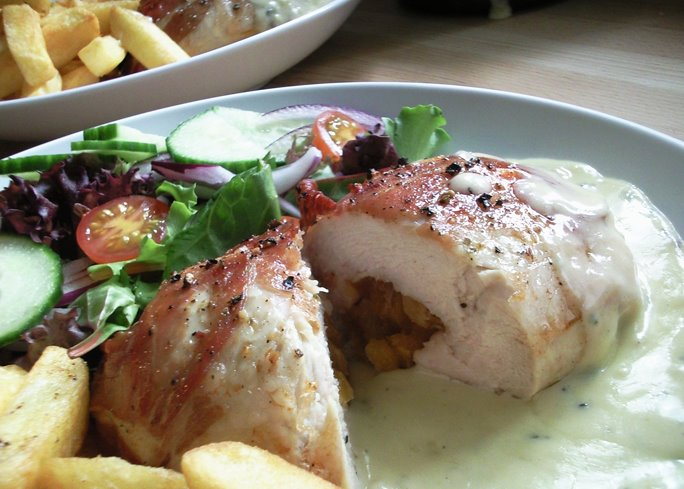 Parma Wrapped Chicken Stuffed with Apricots - Served with Stilton Sauce