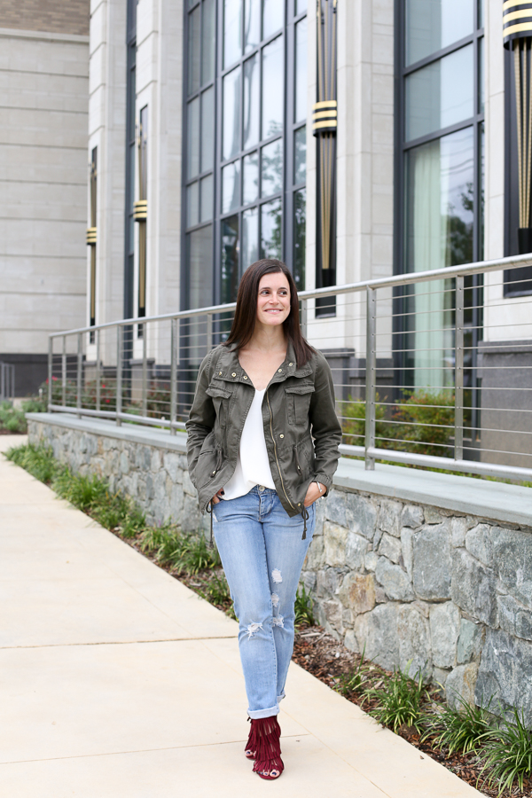 Naturally Me, Cargo Jacket, How to Wear a Cargo Jacket for Fall, Topshop Cami, Boyfriend Jeans, How to Wear Boyfriend Jeans