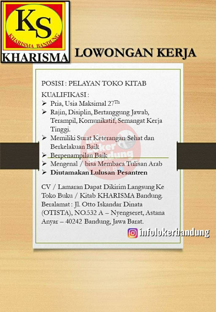 Lowongan Kerja Toko Buku / Kitab KHARISMA Bandung Juni 2021