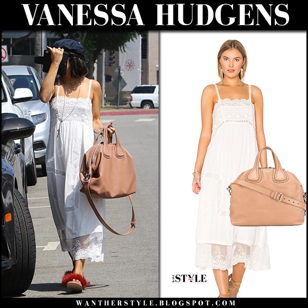 Vanessa Hudgens in white lace maxi dress with beige leather bag givenchy nightingale august 25 2017