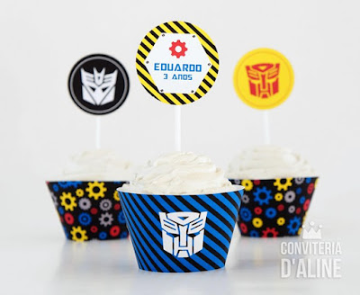 festa transformers wrapper topper decoracao
