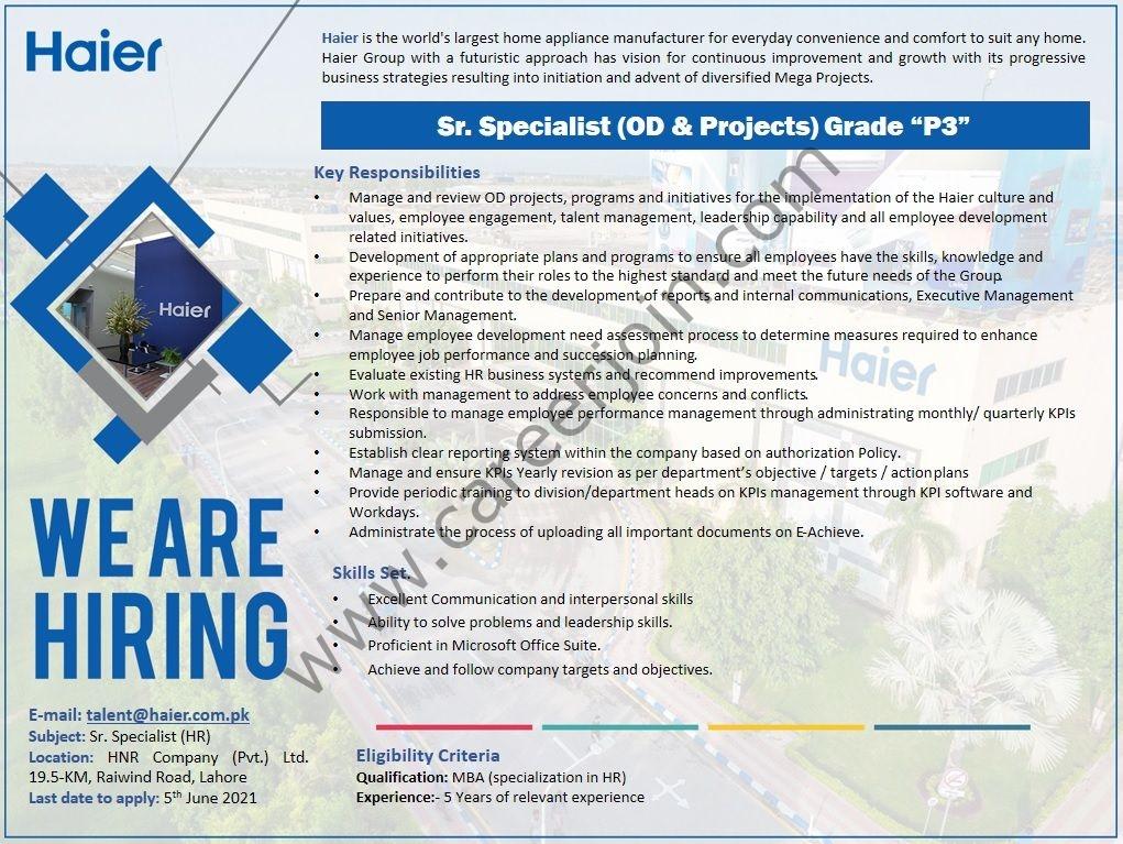 Haier Pakistan Jobs 2021 in Pakisrtan