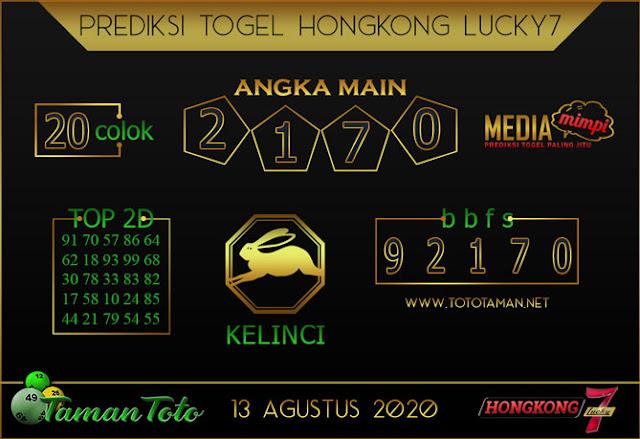 Prediksi Togel HONGKONG LUCKY 7 TAMAN TOTO 13 AGUSTUS 2020
