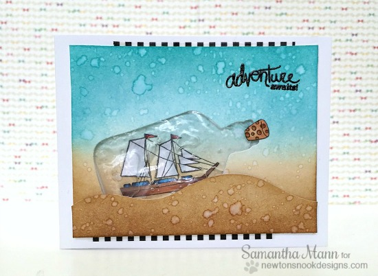 Adventure Awaits Semi-Liquid Shaker by Samantha Mann | Message in a Bottle stamp set by Newton's Nook Designs #newtonsnook