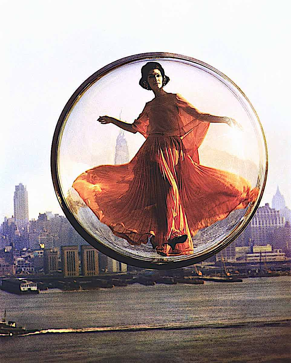 Melvin Sokolsky 1960s fashion photograph series of hanging spheres