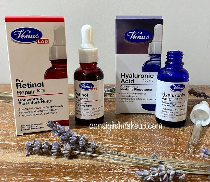 Pro Retinol e Hyaluronic Acid Venus Lab, i concentrati viso