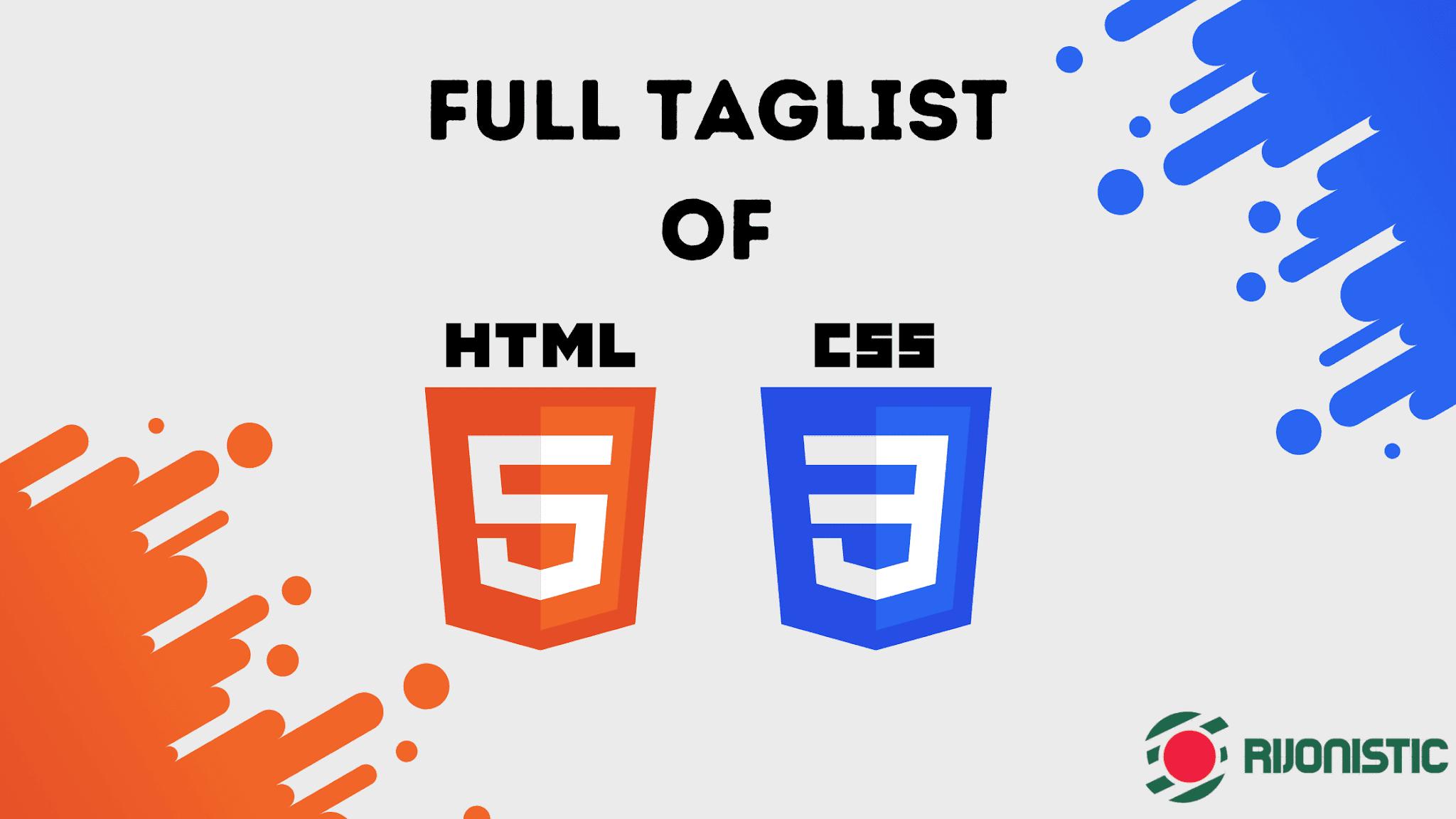 html, css taglist, full taglist html css, learn html bangla tutorial,
