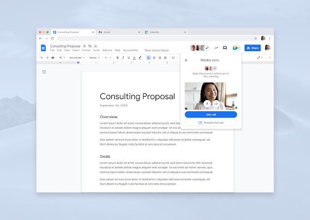 Present from Google Docs, Sheets, and Slides directly to Google Meet