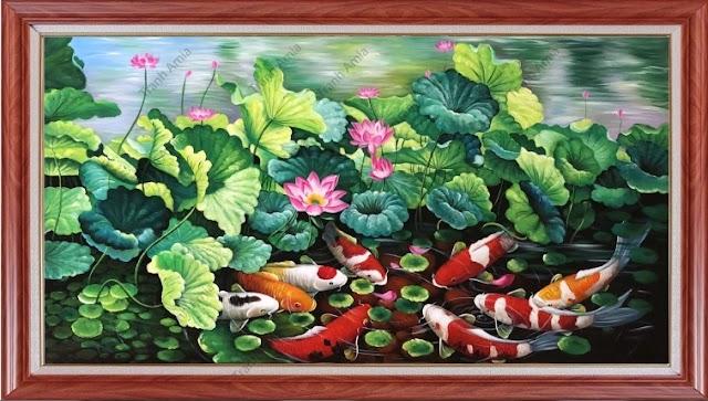 AmiA TSD 216C, bức tranh cửu ngư quần hội đẹp vẽ chất liệu sơn dầu