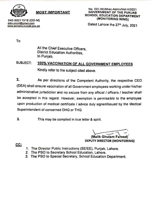 100% VACCINATION OF ALL GOVERNMENT EMPLOYEES OF SCHOOL EDUCATION DEPARTMENT