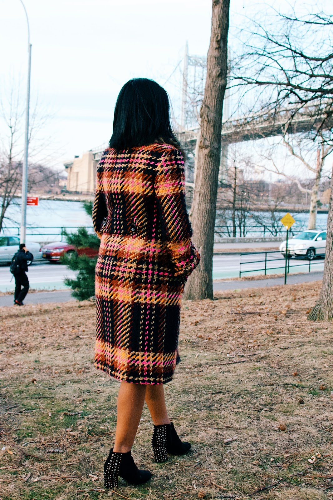 plaid coat in astoria park