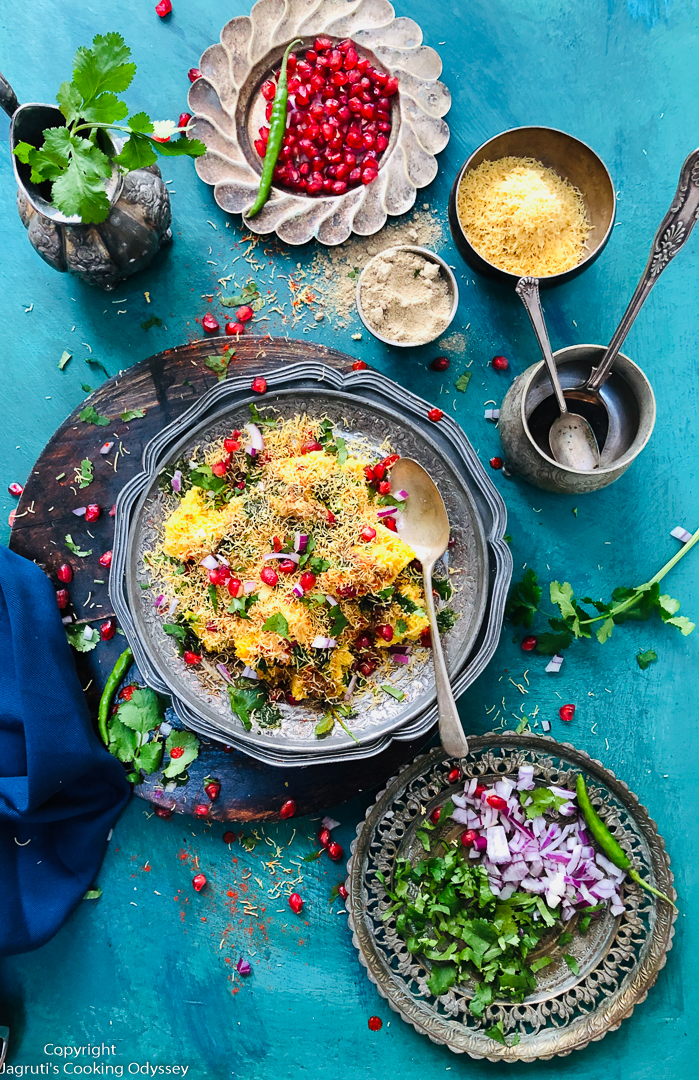 This tasty and unforgettable LEFTOVER KHAMAN DHOKLA CHAAT is perfect for a snack-time treat or try preparing it for a gathering. Never throw away leftover dhokla again but instead reuse in this recipe to satisfy your chaat cravings.