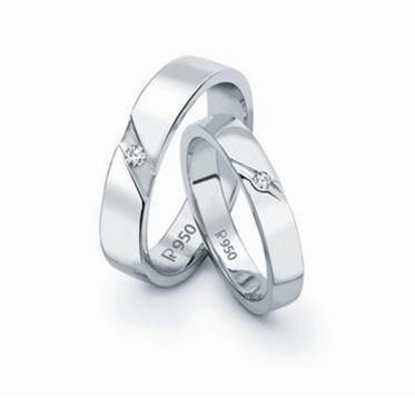 Platinum Love Bands with small single diamonds SJ PTO 122 by Jewelove