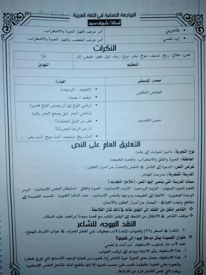 تجميع لمراجعات و امتحانات اللغة العربية للصف الثالث الثانوى  للتدريب و الطباعة 2021 9