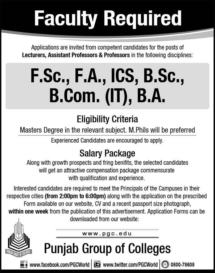 Jobs in Punjab Group of College in Lahore
