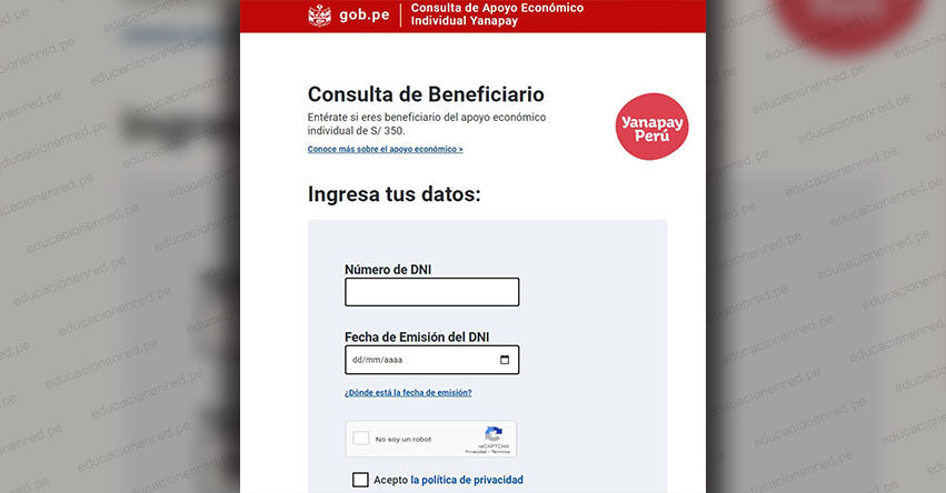 BONO YANAPAY PERÚ: Link oficial para consultar con tu DNI si eres beneficiario