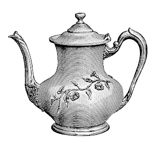 teapot vintage illustration digital clipart download tea