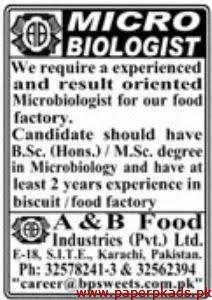 A&B Food Industries Pvt Ltd Jobs 2020
