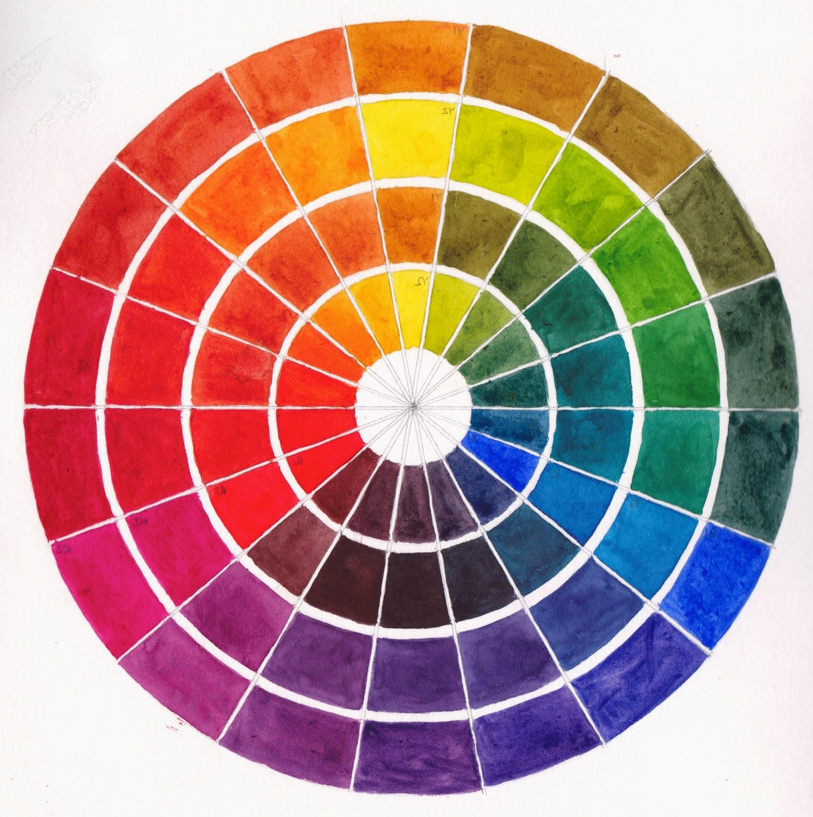 jane blundell artist warm and cool primary colour wheel with template