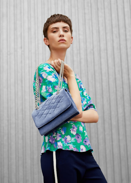 pale blue velvet bag with chain