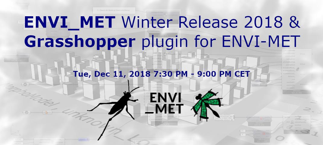 Rhino News, etc : Webinar: Grasshopper plug-in for ENVI-MET - Dec 11