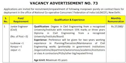 NCCF Recruitment 2021 | Junior Engineer Civil Posts